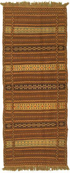 Bordered  Stripes Brown Runner rug 7-ft-runner Turkish Flat-weave 334968