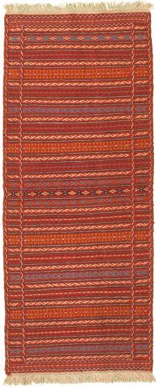 Bordered  Stripes Red Runner rug 6-ft-runner Turkish Flat-weave 334970