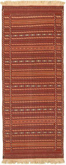 Bordered  Stripes Red Runner rug 6-ft-runner Turkish Flat-weave 334975