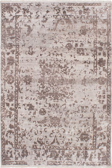 Transitional Grey Area rug 5x8 Indian Hand-knotted 223673