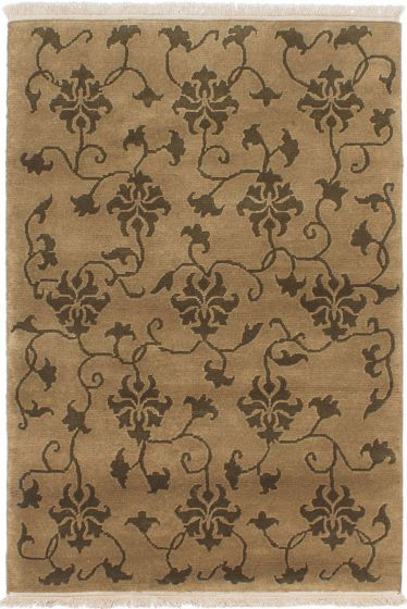 Transitional Green Area rug 3x5 Nepal Hand-knotted 230556
