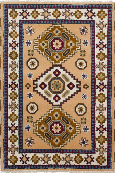 Bordered  Tribal Ivory Area rug 3x5 Indian Hand-knotted 233520