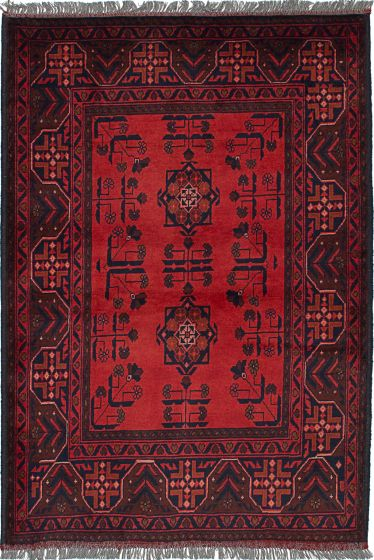 Traditional Red Area rug 3x5 Afghan Hand-knotted 235895