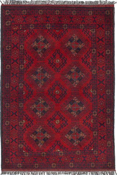 Traditional  Tribal Red Area rug 3x5 Afghan Hand-knotted 236128
