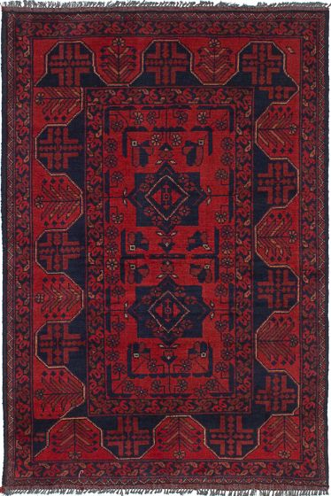 Geometric  Tribal Red Area rug 3x5 Afghan Hand-knotted 236314