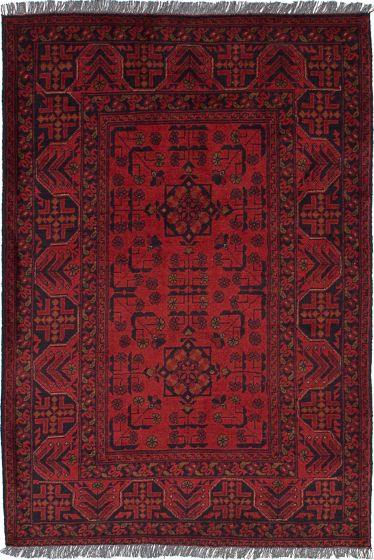 Traditional Red Area rug 3x5 Afghan Hand-knotted 236316