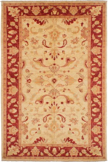 Bordered  Traditional Ivory Area rug 5x8 Afghan Hand-knotted 268741