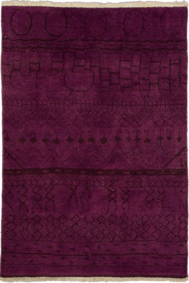 Casual  Transitional Red Area rug 3x5 Indian Hand-knotted 280136