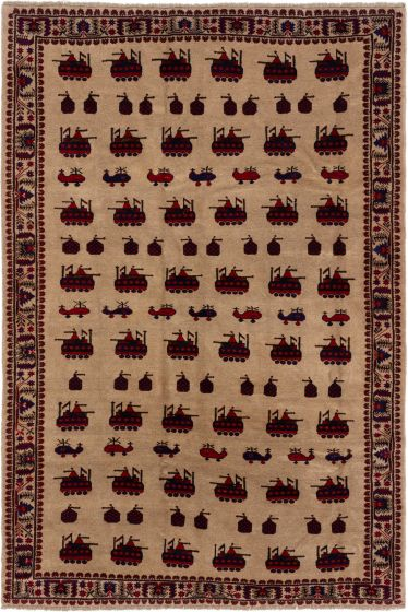 Bordered  Tribal Brown Area rug 6x9 Afghan Hand-knotted 280194