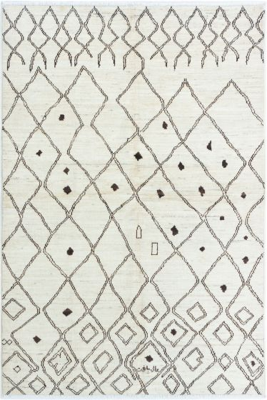 Casual  Transitional Ivory Area rug 5x8 Indian Hand-knotted 280486