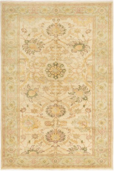 Bordered  Traditional Ivory Area rug 5x8 Turkish Hand-knotted 280744