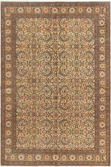 Bordered  Traditional Ivory Area rug 5x8 Turkish Hand-knotted 280975