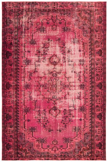 Bordered  Transitional Pink Area rug 5x8 Turkish Hand-knotted 293721