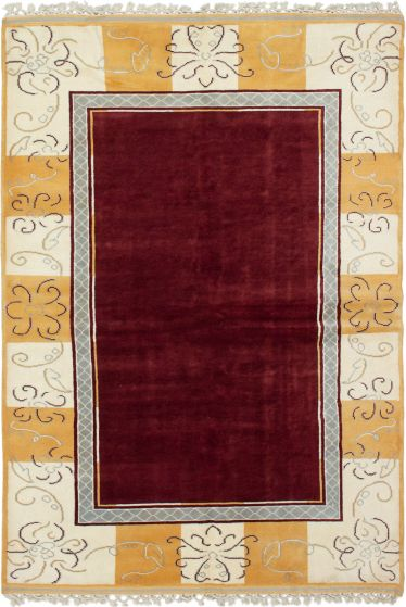 Bordered  Traditional Red Area rug 5x8 Turkish Hand-knotted 293814