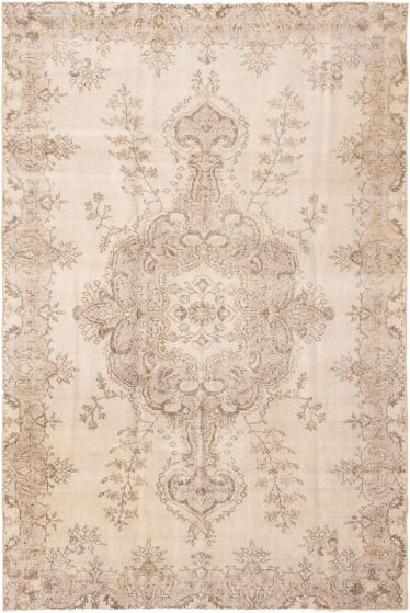 Bordered  Vintage Ivory Area rug 6x9 Turkish Hand-knotted 295922