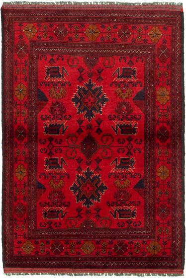 Bordered  Tribal Red Area rug 3x5 Afghan Hand-knotted 330293