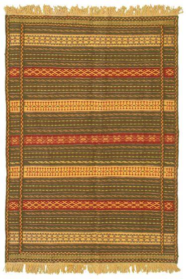 Flat-weaves & Kilims  Stripes Green Area rug 3x5 Turkish Flat-weave 334447