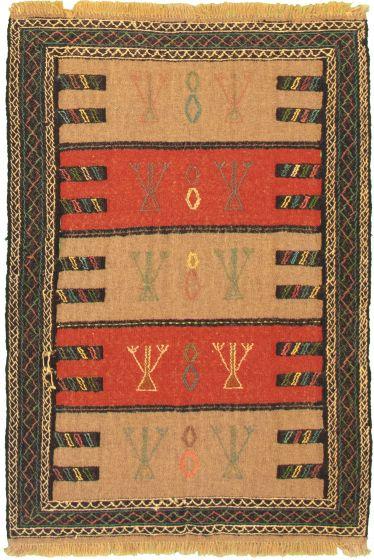 Bordered  Tribal Brown Area rug 3x5 Turkish Flat-weave 334966