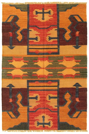 Casual  Transitional Brown Area rug 3x5 Turkish Flat-weave 335466