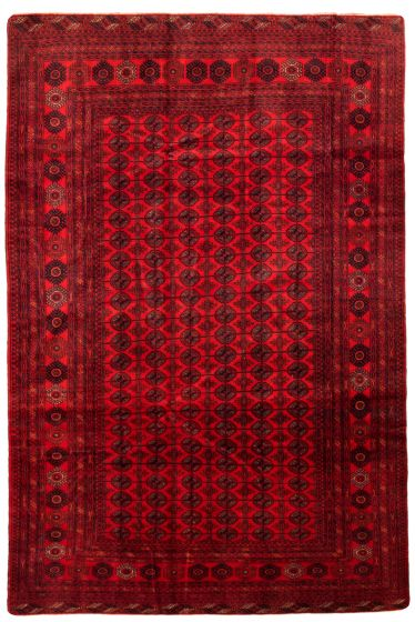 Bordered  Tribal Red Area rug 6x9 Afghan Hand-knotted 342364