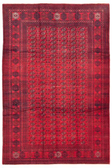 Bordered  Tribal Red Area rug 6x9 Afghan Hand-knotted 342406