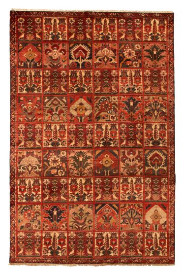 Bordered  Traditional Red Area rug 5x8 Persian Hand-knotted 352150