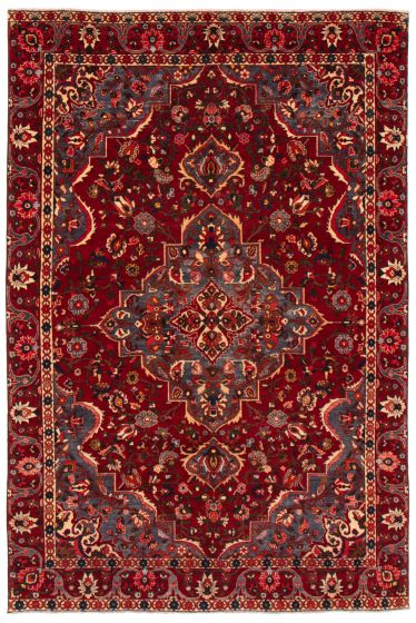 Bordered  Vintage Red Area rug 6x9 Persian Hand-knotted 367162