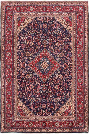 Bordered  Traditional Blue Area rug 8x10 Persian Hand-knotted 290827