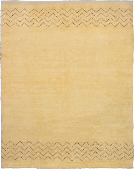 Moroccan  Transitional Ivory Area rug 9x12 Moroccan Hand-knotted 272191