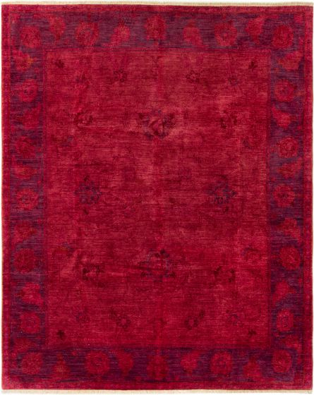 Bordered  Transitional Red Area rug 6x9 Indian Hand-knotted 280502