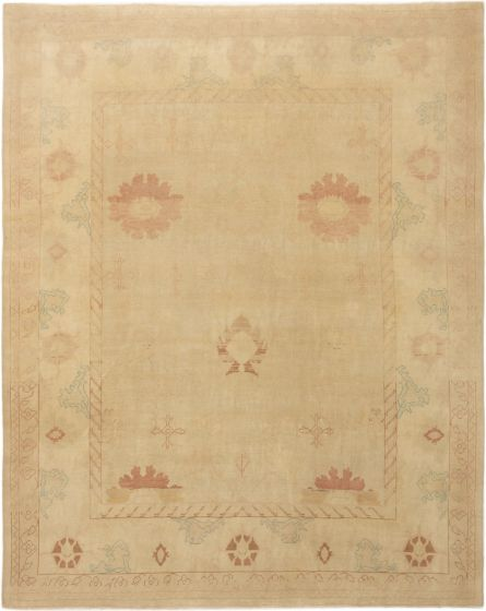 Bordered  Transitional Yellow Area rug 8x10 Turkish Hand-knotted 280773