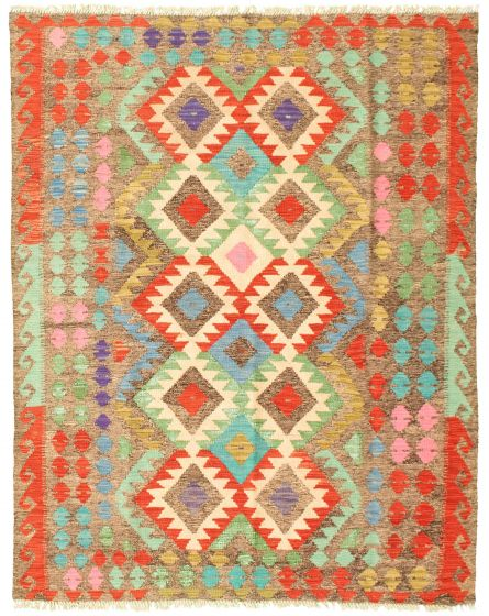 Bordered  Geometric Grey Area rug 4x6 Turkish Flat-weave 330029