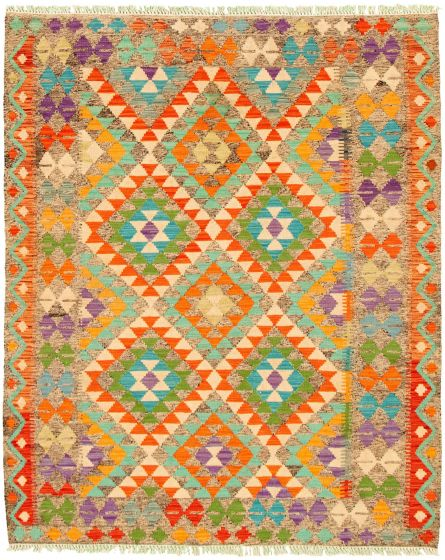 Bordered  Geometric Grey Area rug 4x6 Turkish Flat-weave 330216