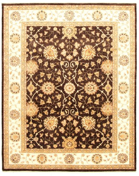 Bordered  Traditional Brown Area rug 6x9 Pakistani Hand-knotted 330597