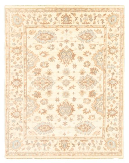Bordered  Traditional Ivory Area rug 6x9 Indian Hand-knotted 344816