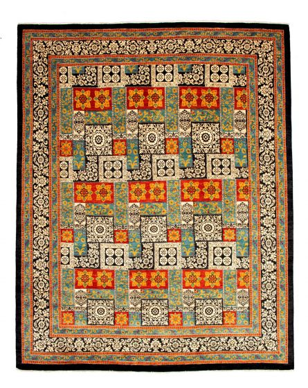 Bordered  Transitional Green Area rug 12x15 Pakistani Hand-knotted 345142