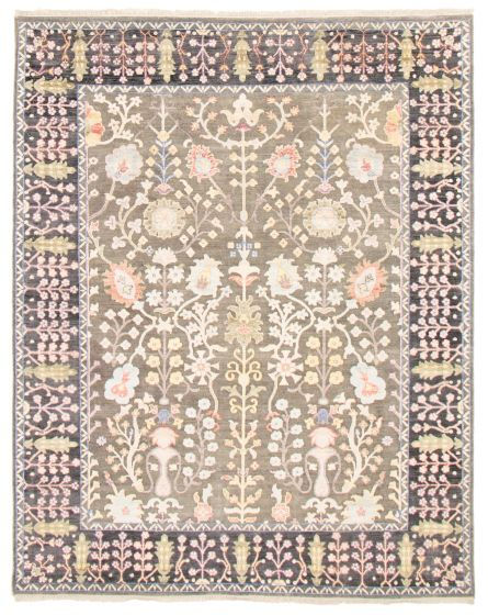 Carved  Transitional Green Area rug 6x9 Indian Hand-knotted 364504