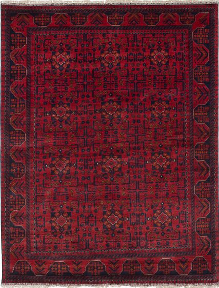 Geometric  Tribal Red Area rug 5x8 Afghan Hand-knotted 222137