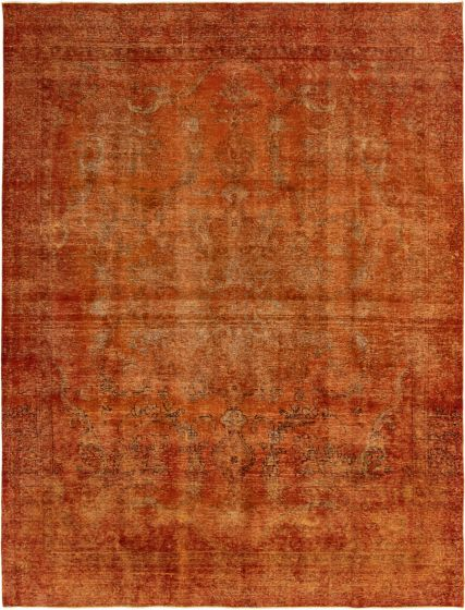 Bordered  Transitional Orange Area rug 9x12 Turkish Hand-knotted 293052