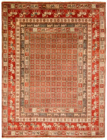 Tribal Red Area rug 9x12 Indian Hand-knotted 313633