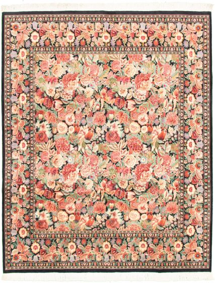 Bordered  Traditional Black Area rug 6x9 Pakistani Hand-knotted 318331
