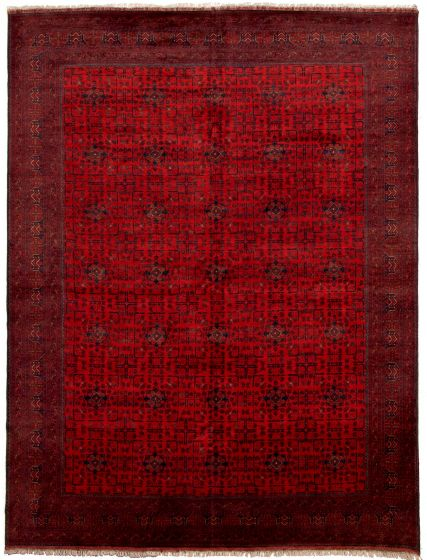 Bordered  Tribal Red Area rug 9x12 Afghan Hand-knotted 330017