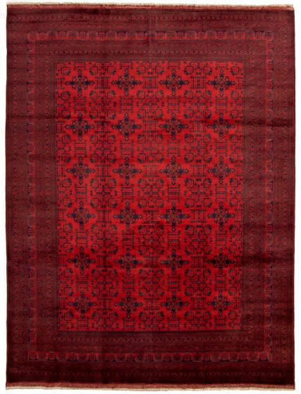 Bordered  Tribal Red Area rug 9x12 Afghan Hand-knotted 330035