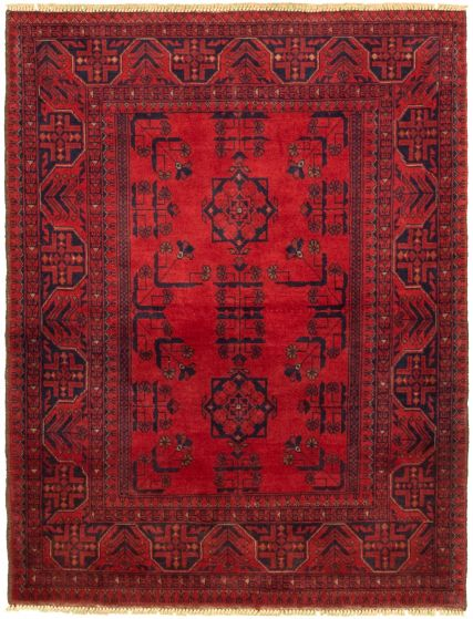Bordered  Tribal Red Area rug 3x5 Afghan Hand-knotted 330269