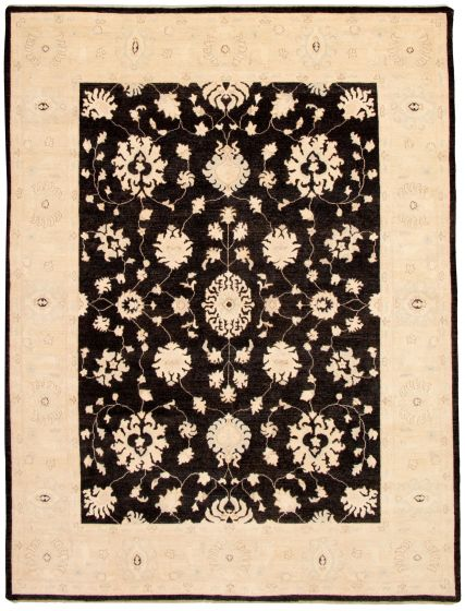 Bordered  Traditional Black Area rug 9x12 Afghan Hand-knotted 331185