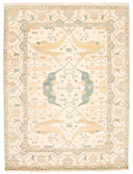 Bordered  Traditional Ivory Area rug 9x12 Indian Hand-knotted 344947