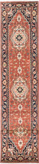 Floral  Traditional Brown Runner rug 16-ft-runner Indian Hand-knotted 218116