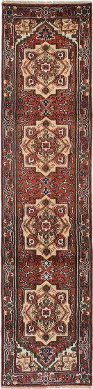 Floral  Traditional Orange Runner rug 11-ft-runner Indian Hand-knotted 220617