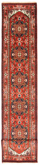 Bordered  Traditional Red Runner rug 22-ft-runner Indian Hand-knotted 344604