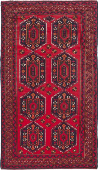 Traditional Red Area rug Unique Afghan Hand-knotted 212904